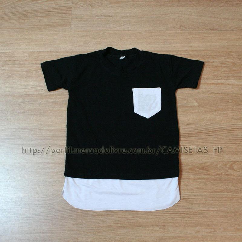 camisetinha infantil da moda estilosa street style meninos long tail shirt line para criança oversized barata qualidade